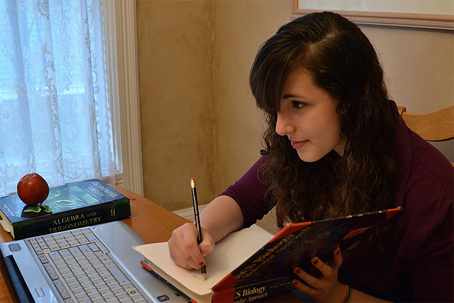 high school student with laptop writing in journal