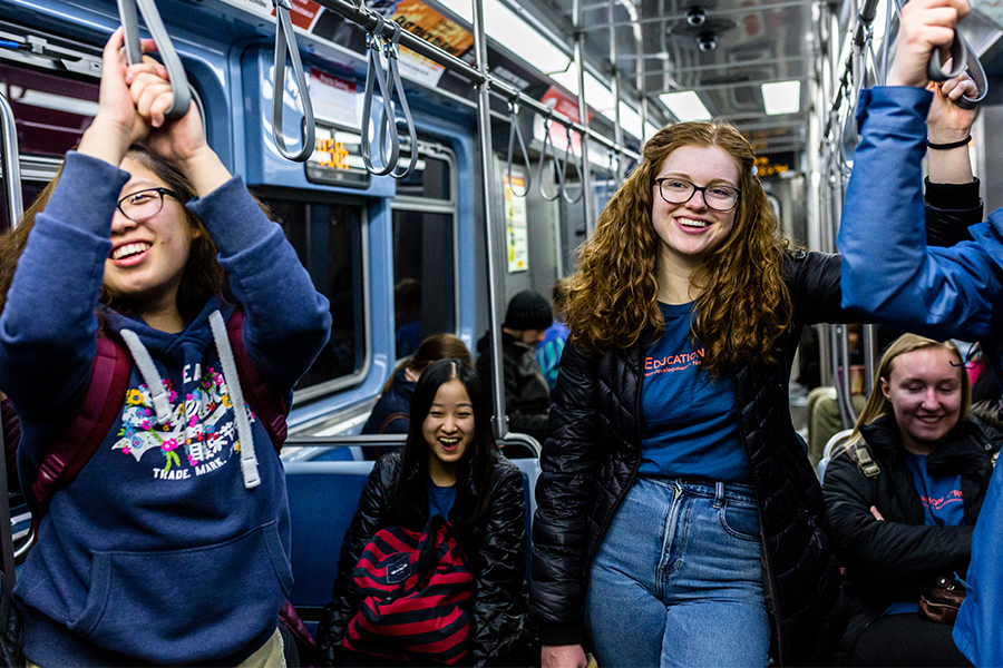 high school students on the elevated train in Chicago