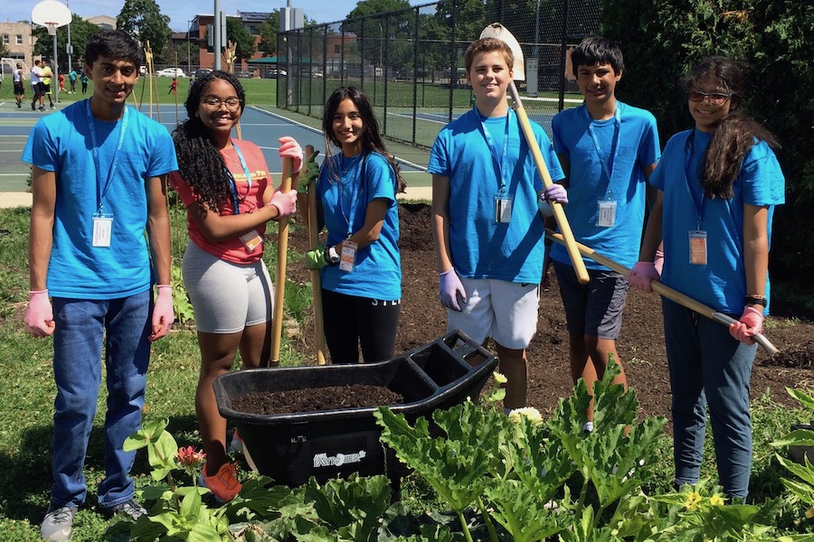 group of students gardening