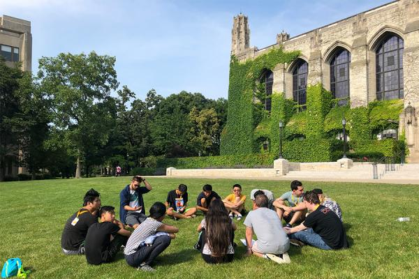 students outside deering library at Northwestern
